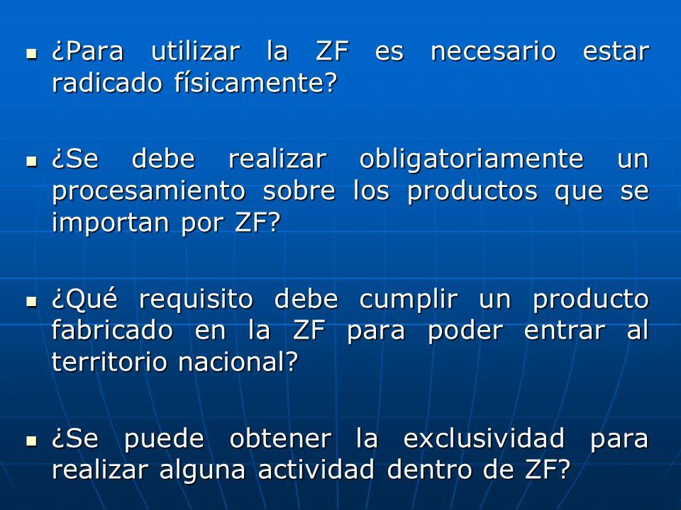 ¿Para utilizar la ZF es necesario estar radicado físicamente