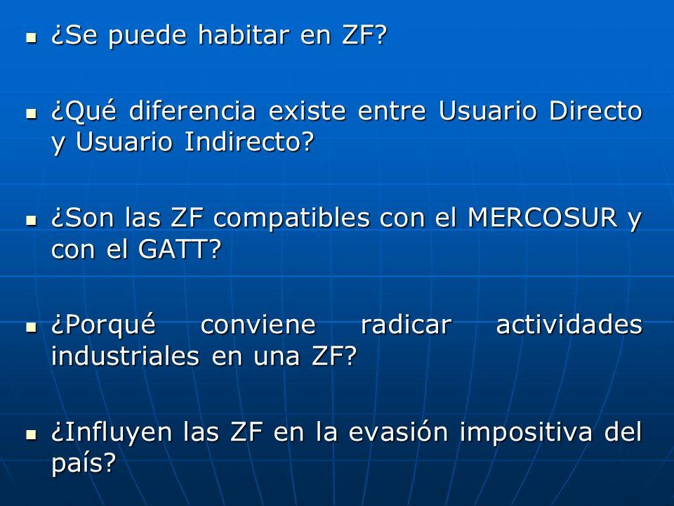 ¿Se puede habitar en ZF ¿Qué diferencia existe entre Usuario Directo y Usuario Indirecto ¿Son las ZF compatibles con el MERCOSUR y con el GATT