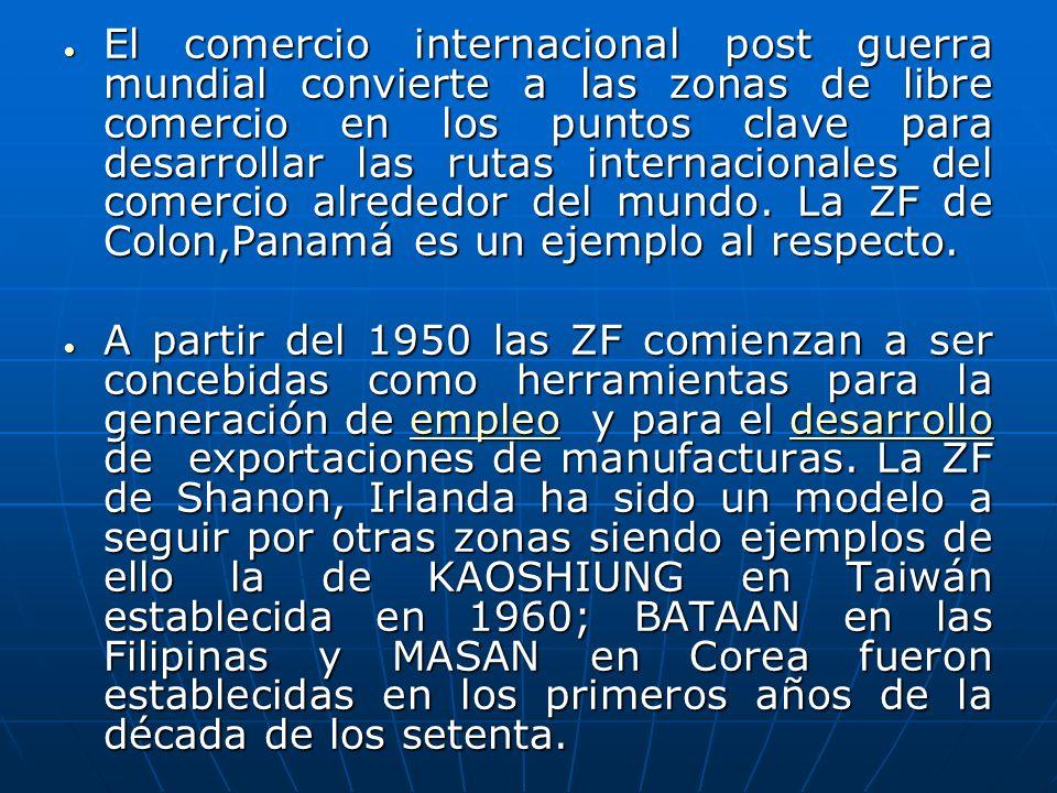 El comercio internacional post guerra mundial convierte a las zonas de libre comercio en los puntos clave para desarrollar las rutas internacionales del comercio alrededor del mundo. La ZF de Colon,Panamá es un ejemplo al respecto.