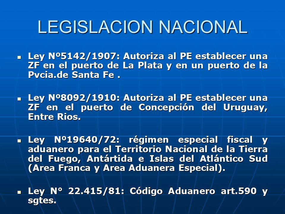 LEGISLACION NACIONAL Ley Nº5142/1907: Autoriza al PE establecer una ZF en el puerto de La Plata y en un puerto de la Pvcia.de Santa Fe .