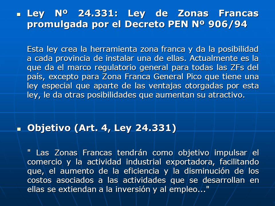 Ley Nº 24.331: Ley de Zonas Francas promulgada por el Decreto PEN Nº 906/94
