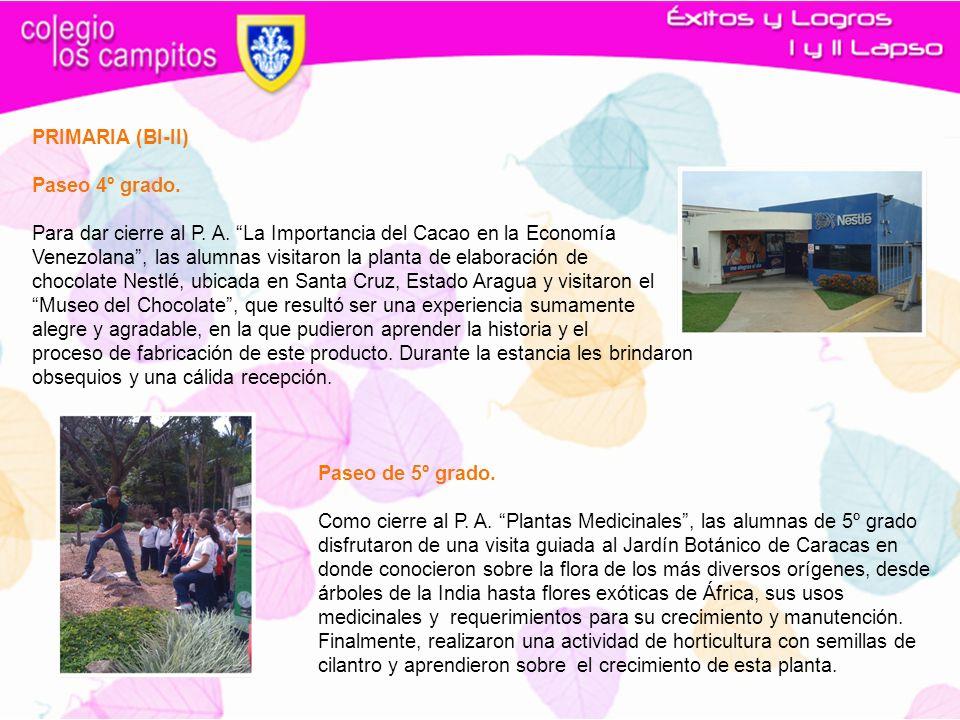PRIMARIA (BI-II) Paseo 4º grado. Para dar cierre al P. A. La Importancia del Cacao en la Economía.