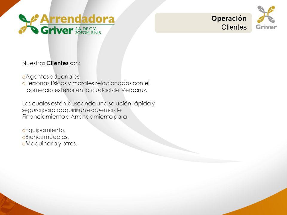 Operación Clientes Nuestros Clientes son: Agentes aduanales