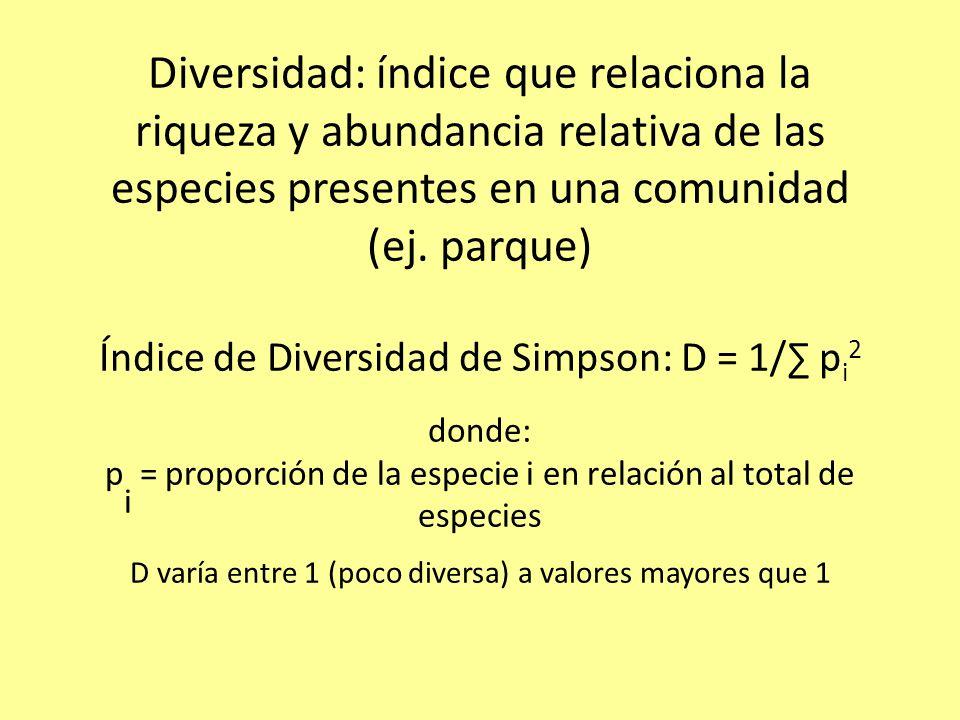 Diversidad: índice que relaciona la riqueza y abundancia relativa de las especies presentes en una comunidad (ej.