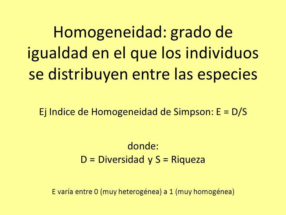 Homogeneidad: grado de igualdad en el que los individuos se distribuyen entre las especies Ej Indice de Homogeneidad de Simpson: E = D/S donde: D = Diversidad y S = Riqueza E varía entre 0 (muy heterogénea) a 1 (muy homogénea)