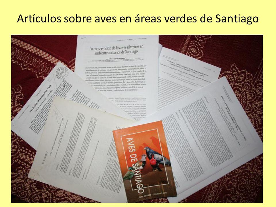 Artículos sobre aves en áreas verdes de Santiago