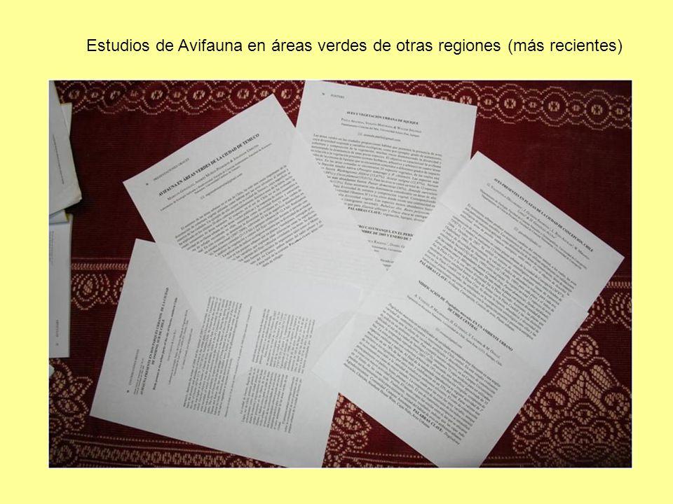 Estudios de Avifauna en áreas verdes de otras regiones (más recientes)