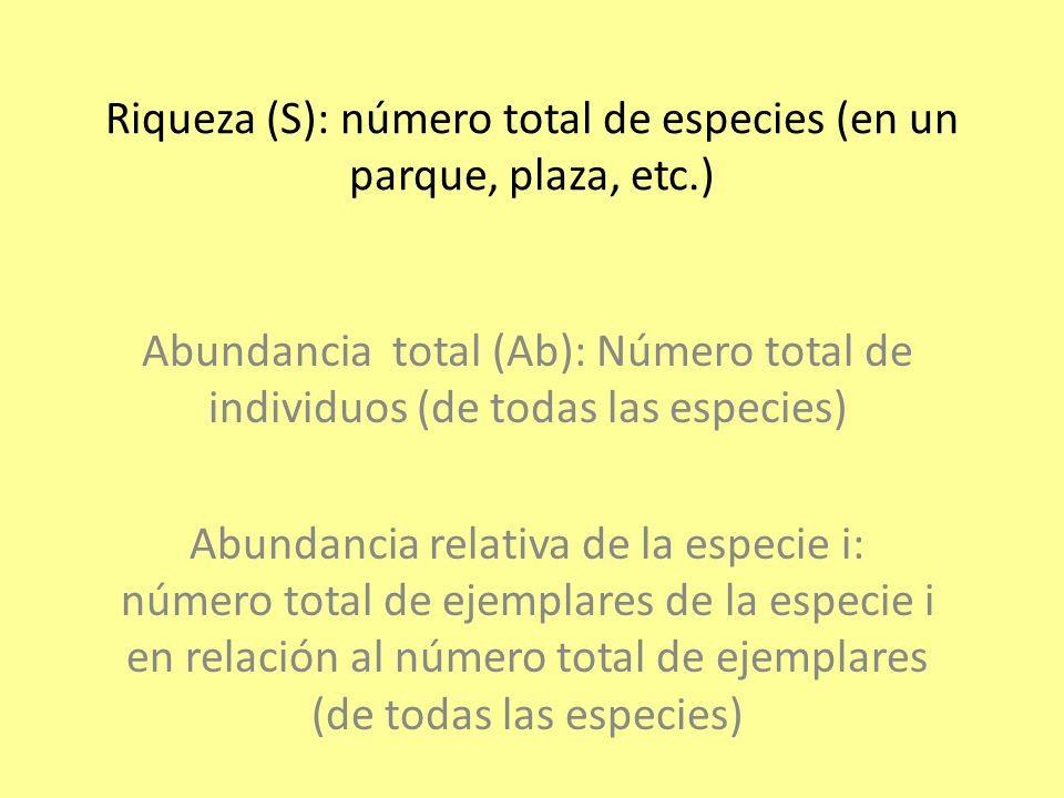 Riqueza (S): número total de especies (en un parque, plaza, etc.)