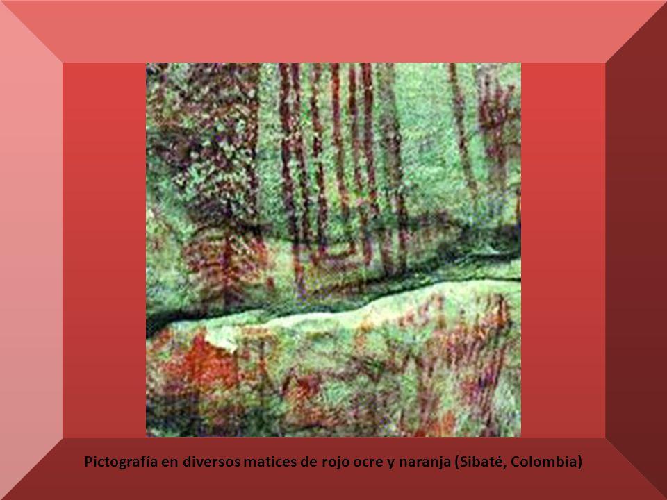 Pictografía en diversos matices de rojo ocre y naranja (Sibaté, Colombia)