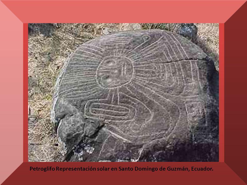Petroglifo Representación solar en Santo Domingo de Guzmán, Ecuador.