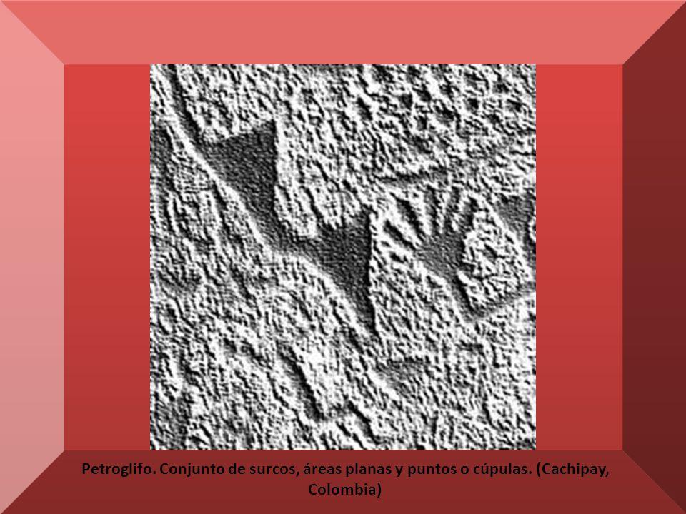 Petroglifo. Conjunto de surcos, áreas planas y puntos o cúpulas