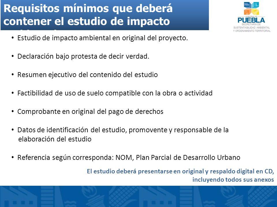 Requisitos mínimos que deberá contener el estudio de impacto ambiental