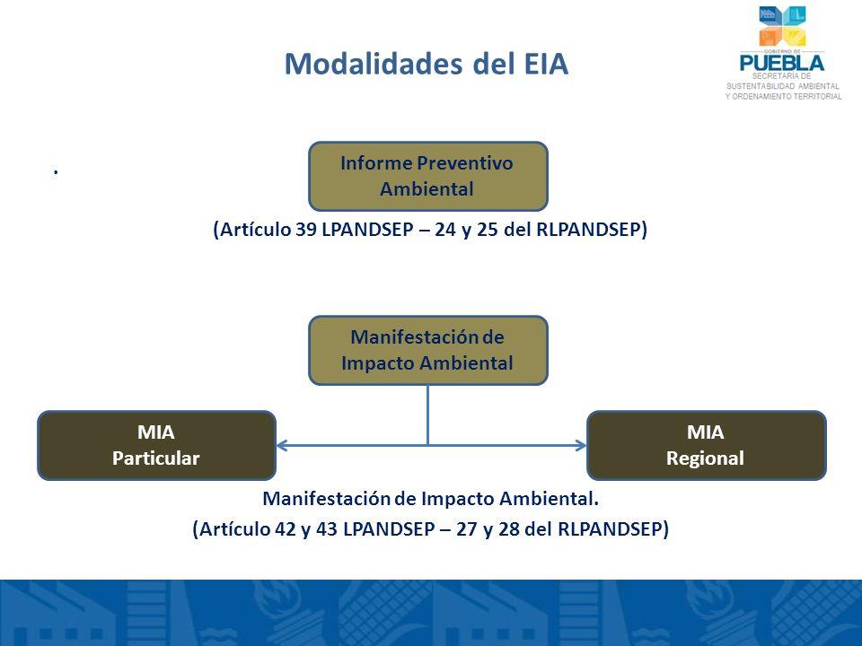 Modalidades del EIA . (Artículo 39 LPANDSEP – 24 y 25 del RLPANDSEP)