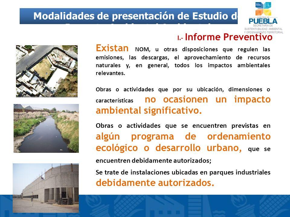Modalidades de presentación de Estudio de Impacto Ambiental Ambiental