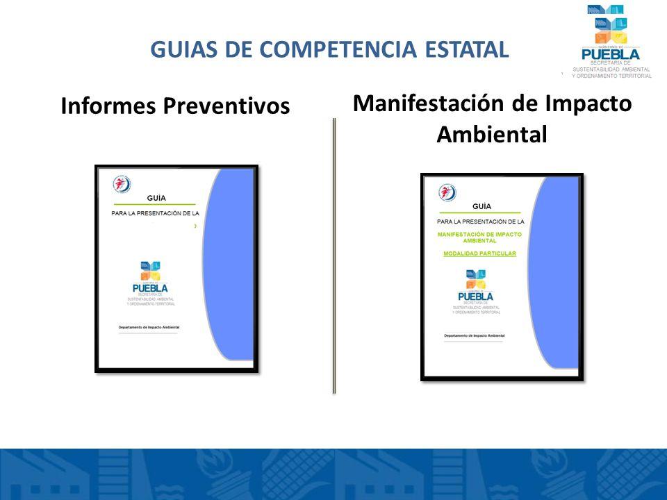 GUIAS DE COMPETENCIA ESTATAL Manifestación de Impacto Ambiental