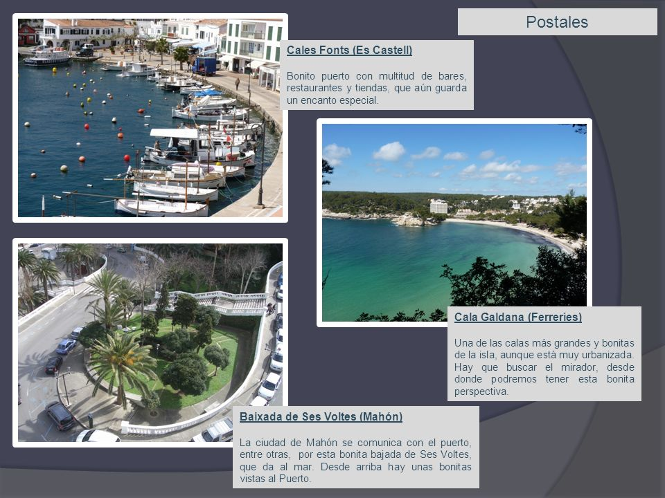 Postales Cales Fonts (Es Castell) Cala Galdana (Ferreríes)