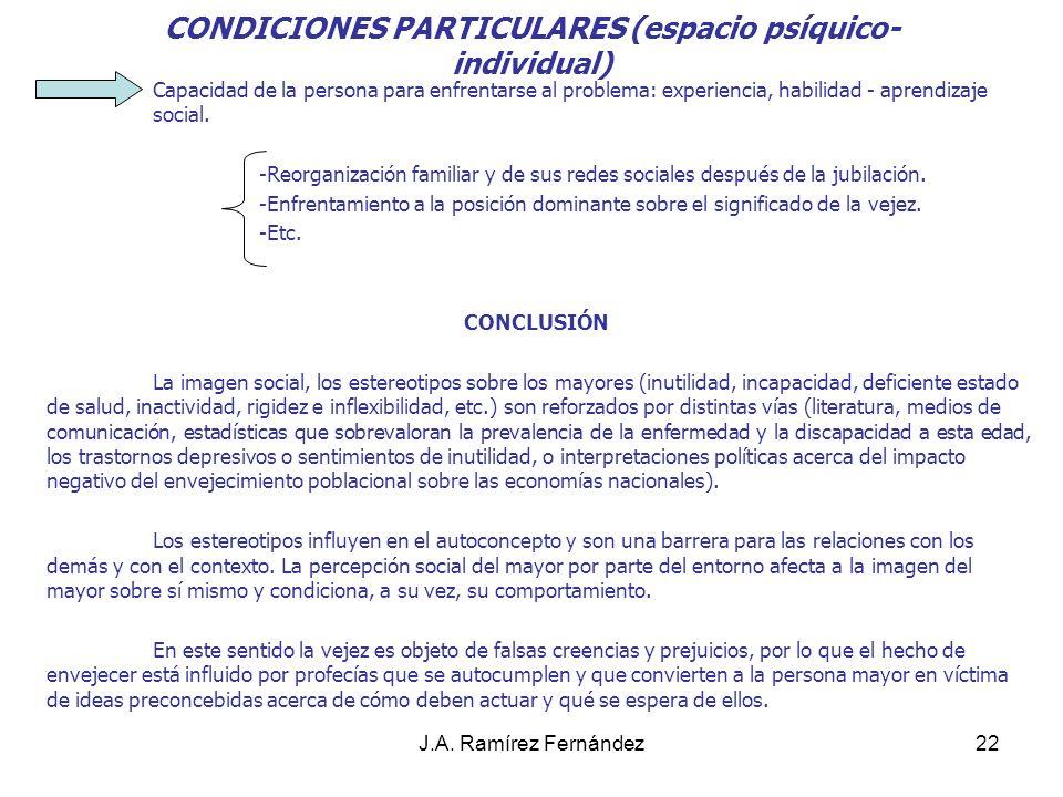 CONDICIONES PARTICULARES (espacio psíquico-individual)