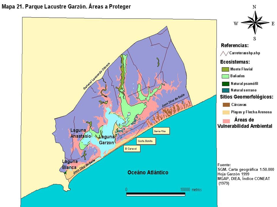 Fuente: SGM. Carta geográfica 1:50.000 Hoja Garzón 1999 MGAP, DIEA, Índice CONEAT (1979)