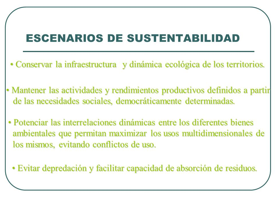 ESCENARIOS DE SUSTENTABILIDAD