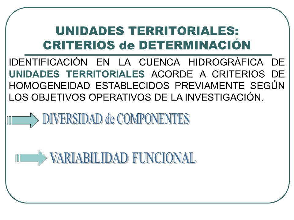 UNIDADES TERRITORIALES: CRITERIOS de DETERMINACIÓN