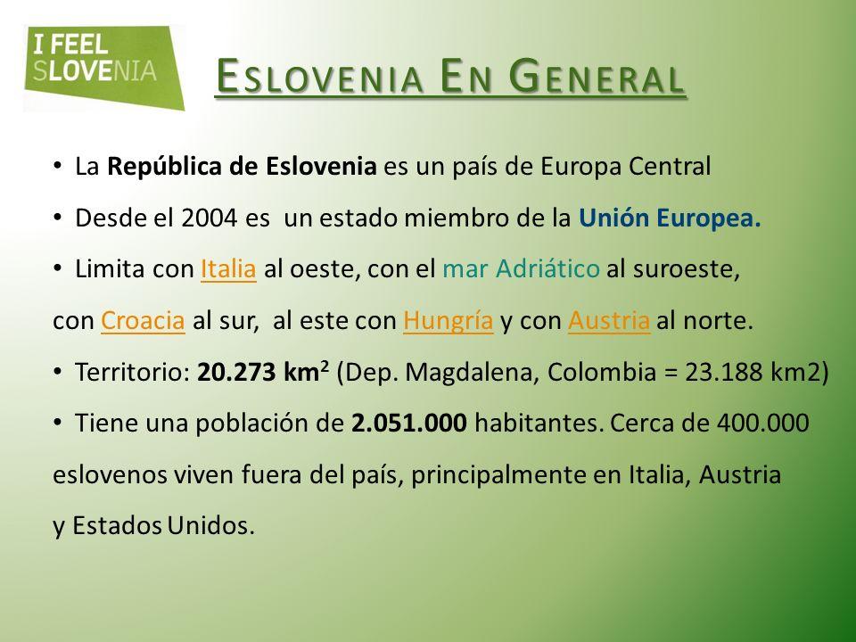 ESLOVENIA EN GENERAL La República de Eslovenia es un país de Europa Central Desde el 2004 es un estado miembro de la Unión Europea.