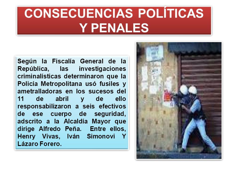 CONSECUENCIAS POLÍTICAS Y PENALES