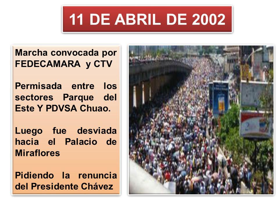 11 DE ABRIL DE 2002 Marcha convocada por FEDECAMARA y CTV