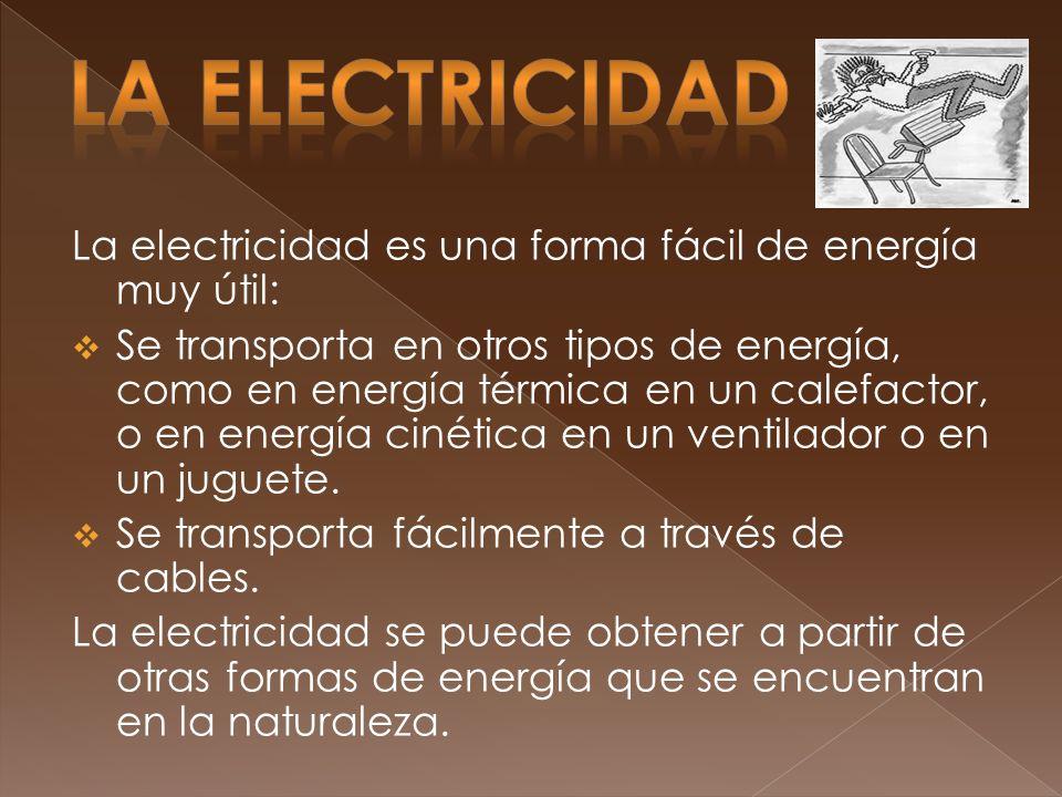 LA ELECTRICIDAD La electricidad es una forma fácil de energía muy útil: