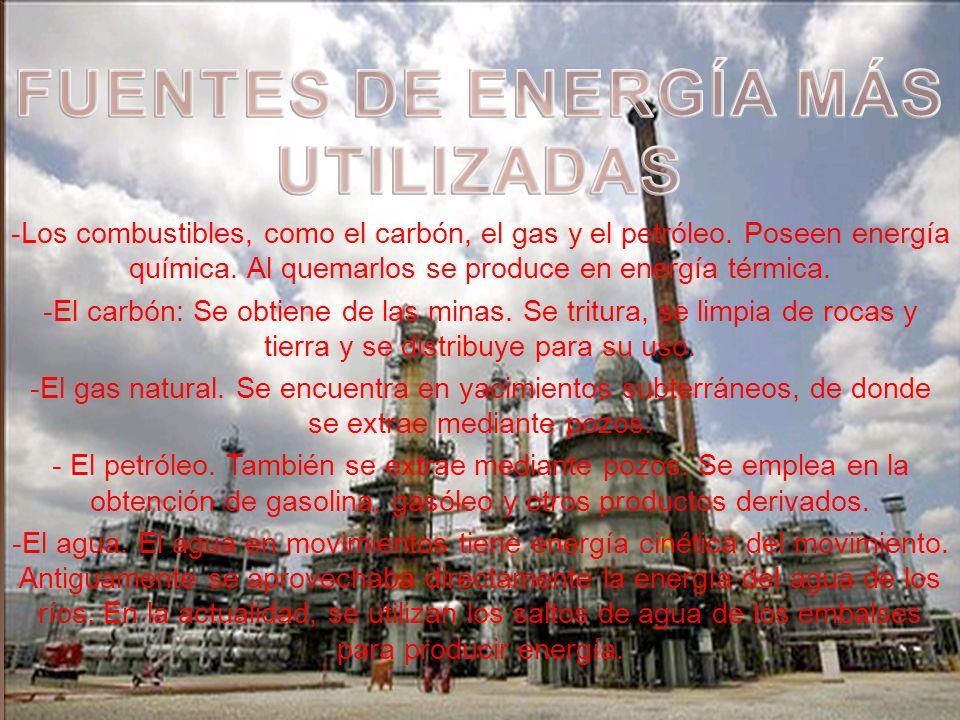 FUENTES DE ENERGÍA MÁS UTILIZADAS