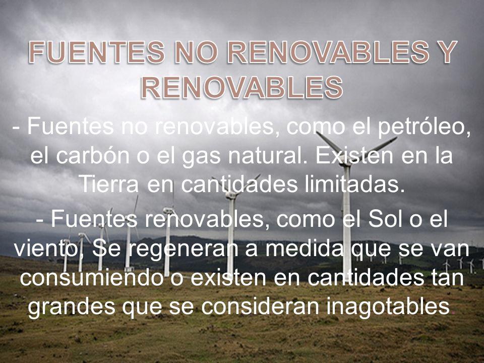 FUENTES NO RENOVABLES Y RENOVABLES
