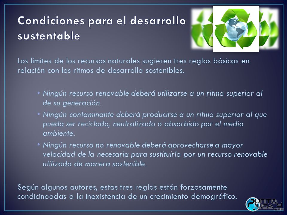 Condiciones para el desarrollo sustentable
