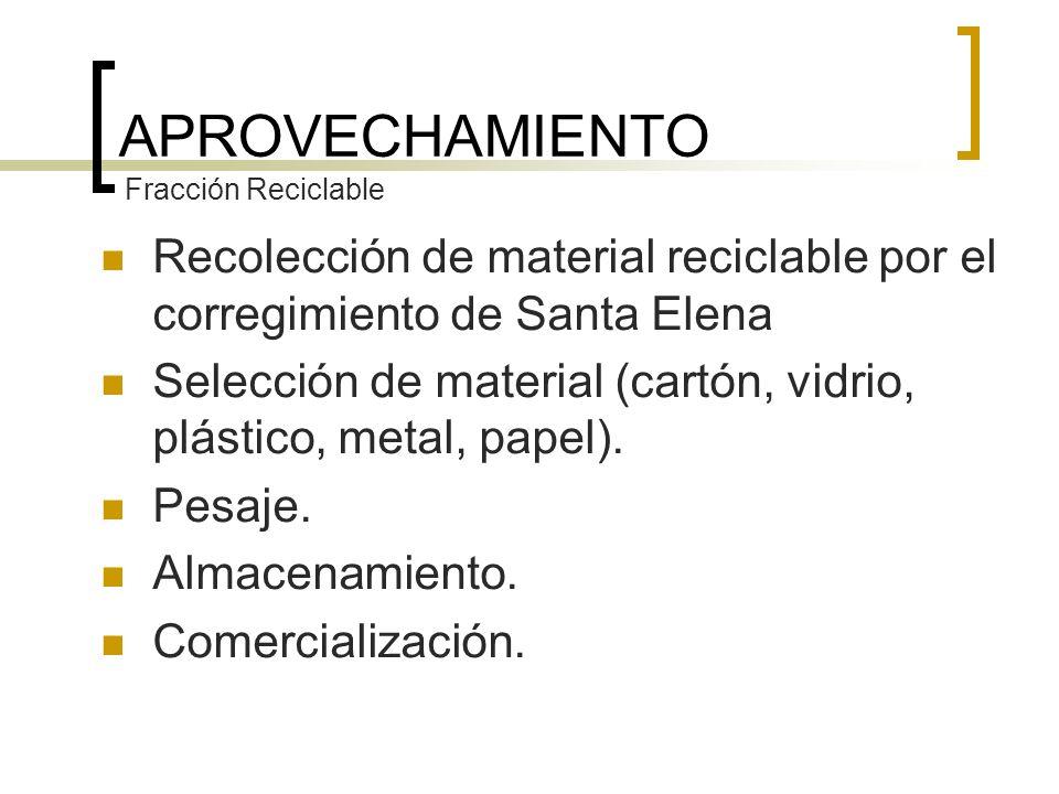 APROVECHAMIENTO Fracción Reciclable. Recolección de material reciclable por el corregimiento de Santa Elena.