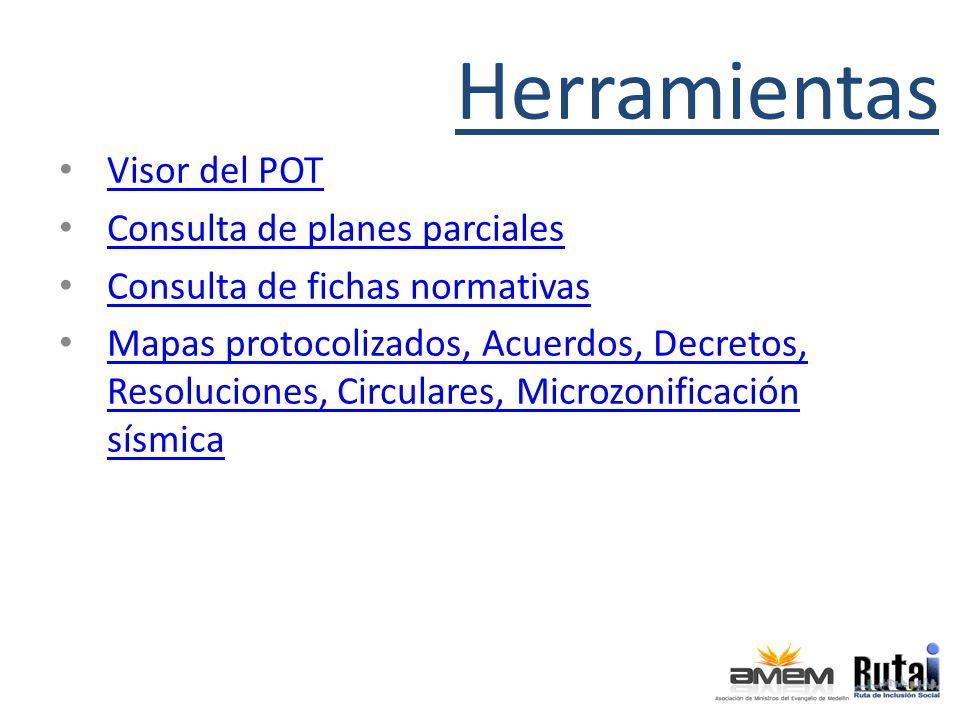 Herramientas Visor del POT Consulta de planes parciales