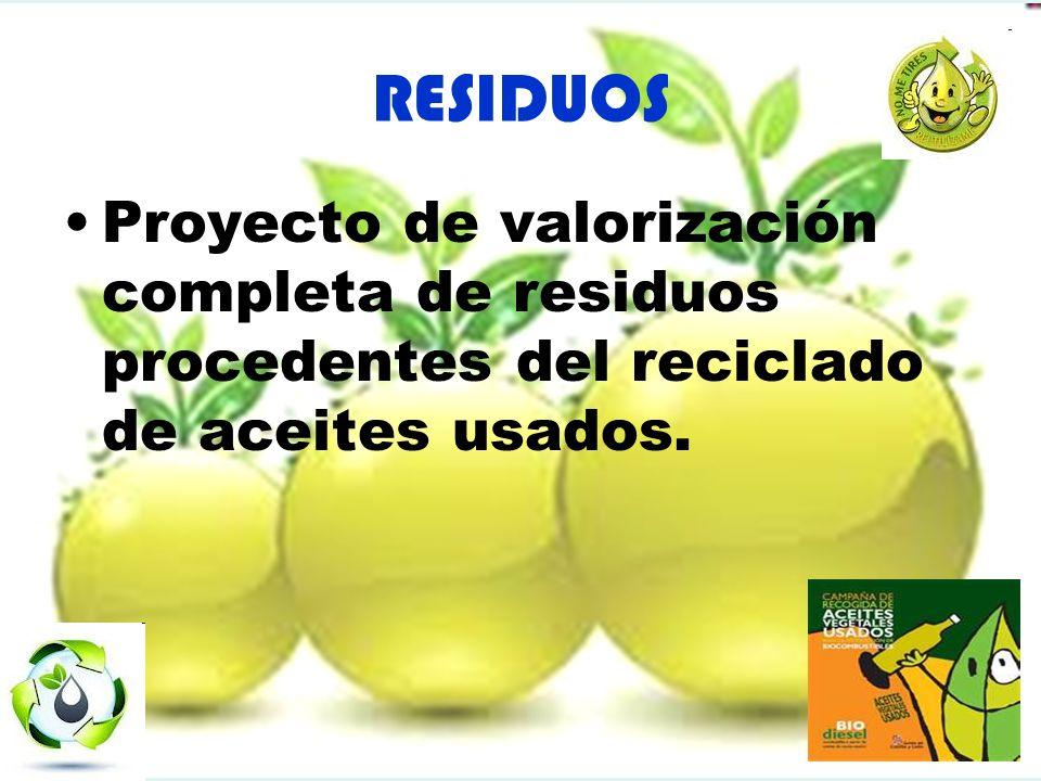 RESIDUOS Proyecto de valorización completa de residuos procedentes del reciclado de aceites usados.