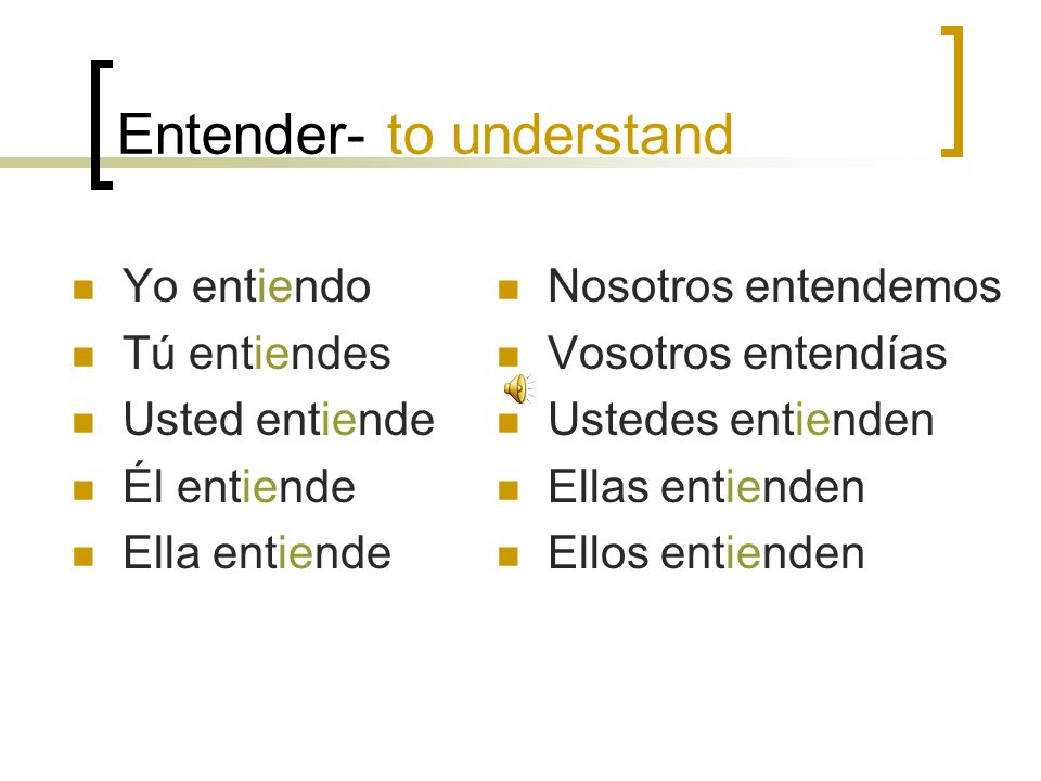 Entender- to understand