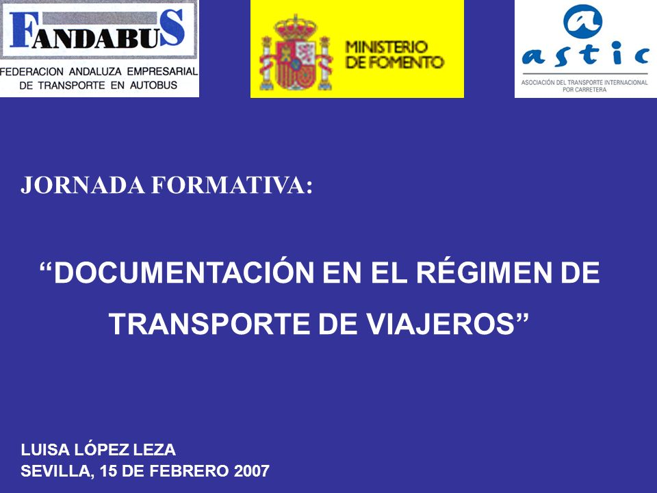 DOCUMENTACIÓN EN EL RÉGIMEN DE TRANSPORTE DE VIAJEROS