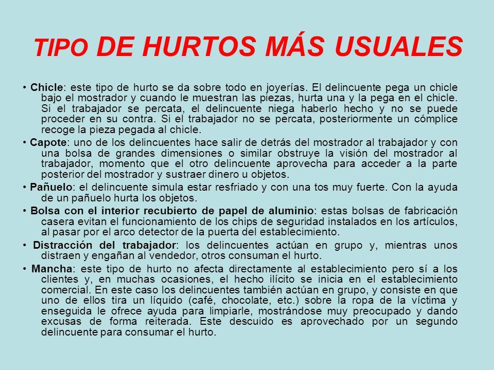 TIPO DE HURTOS MÁS USUALES