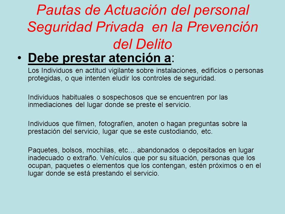 Pautas de Actuación del personal Seguridad Privada en la Prevención del Delito
