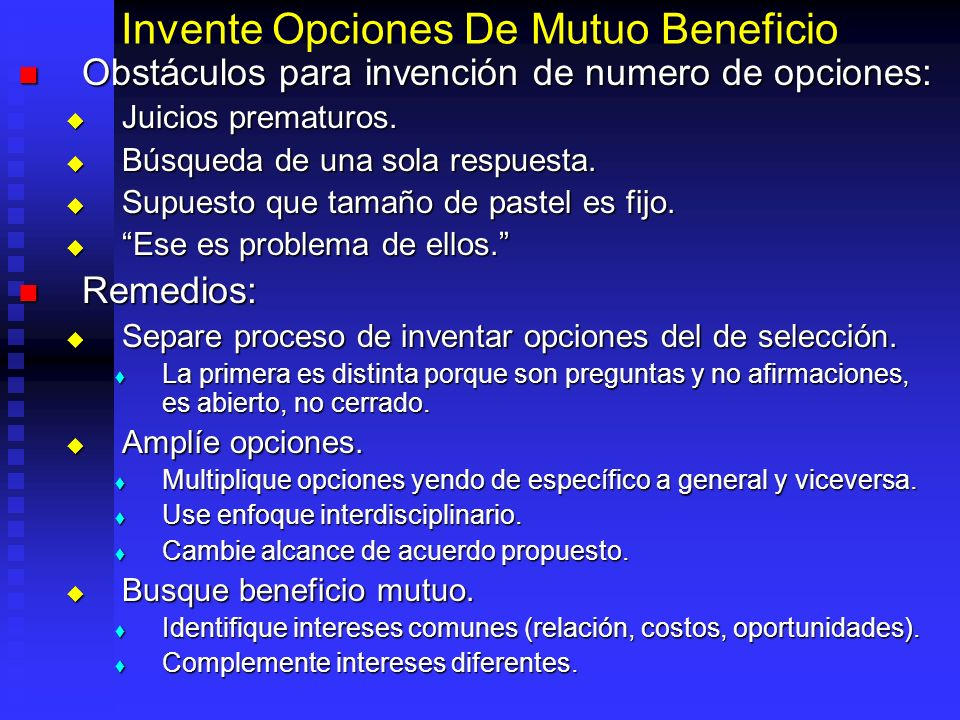 Invente Opciones De Mutuo Beneficio