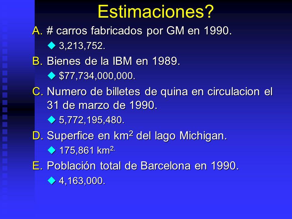 Estimaciones # carros fabricados por GM en 1990.