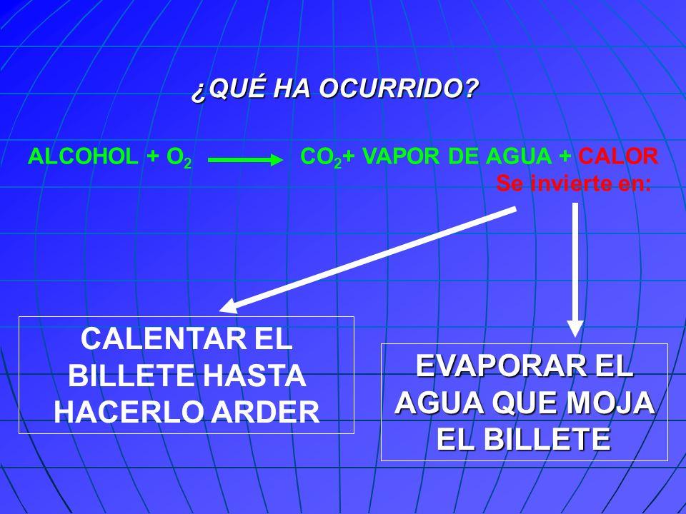 CALENTAR EL BILLETE HASTA HACERLO ARDER