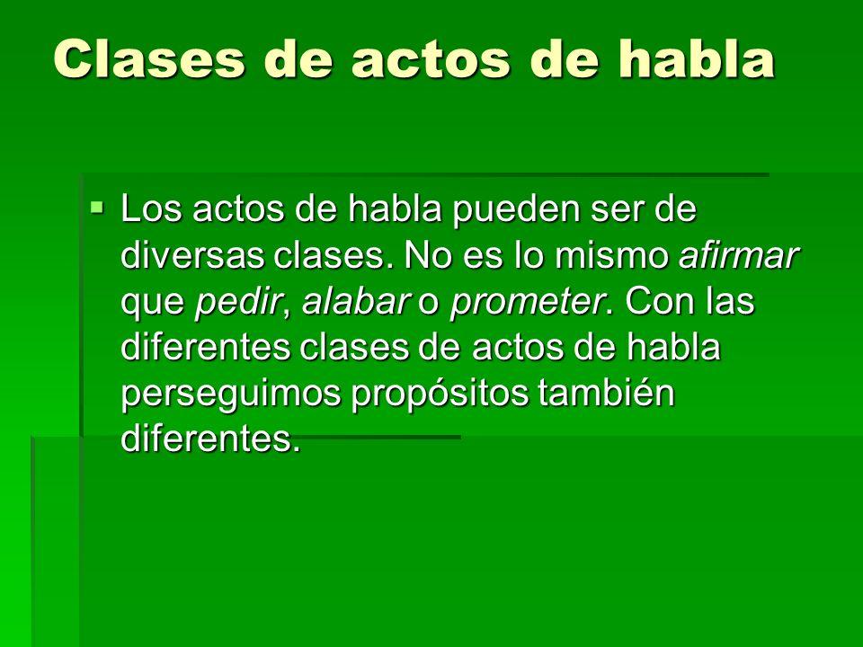 Clases de actos de habla