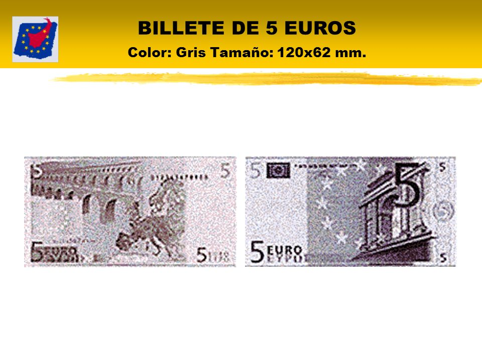 BILLETE DE 5 EUROS Color: Gris Tamaño: 120x62 mm.