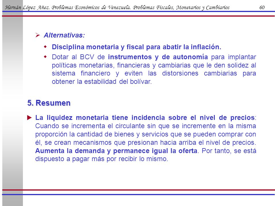 5. Resumen Alternativas: