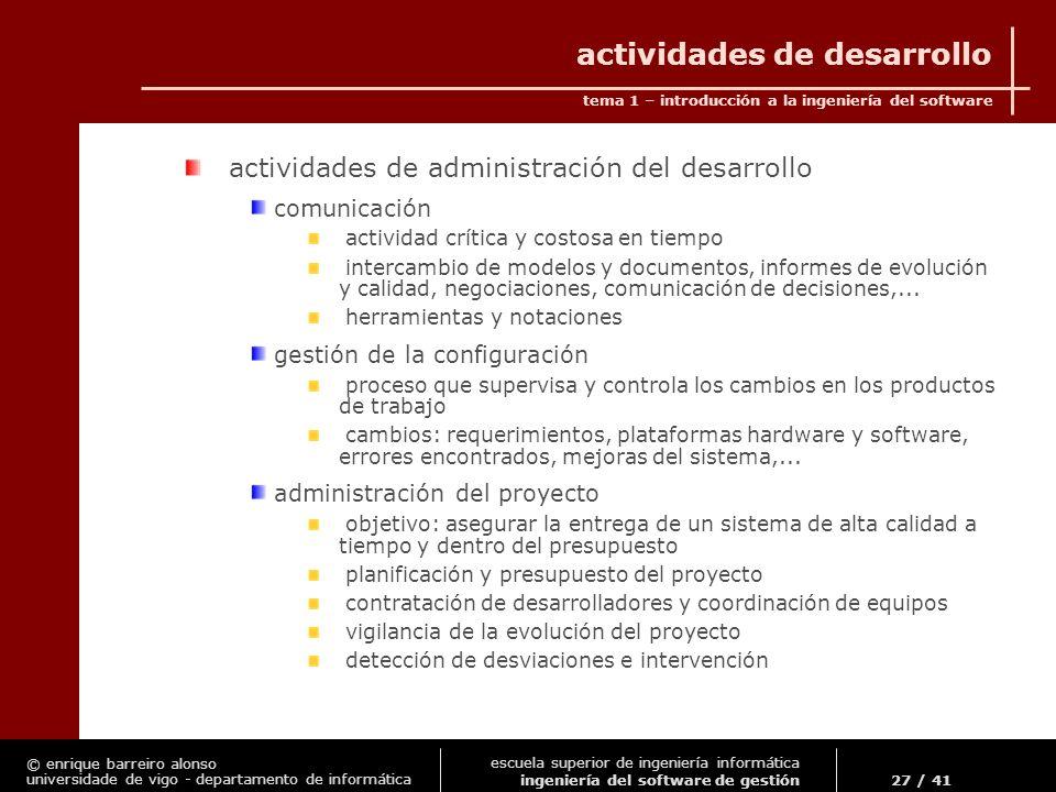 actividades de desarrollo