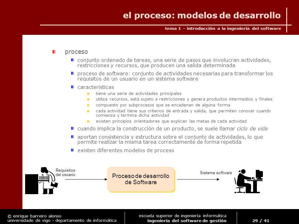 el proceso: modelos de desarrollo