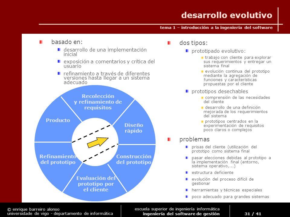 desarrollo evolutivo basado en: dos tipos: problemas