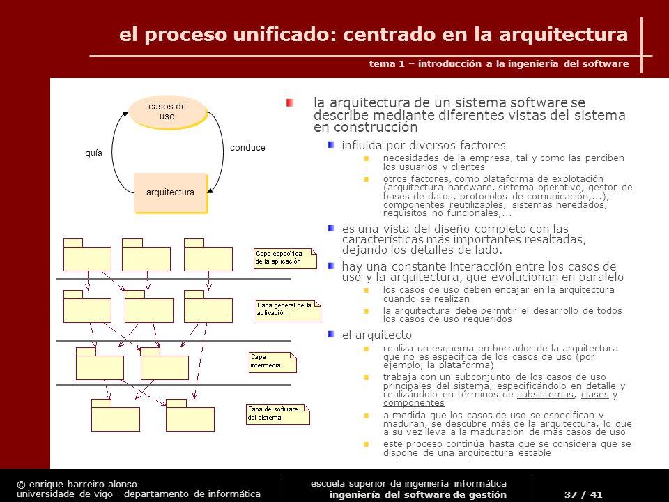 el proceso unificado: centrado en la arquitectura