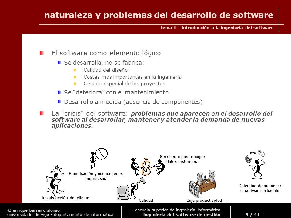 naturaleza y problemas del desarrollo de software