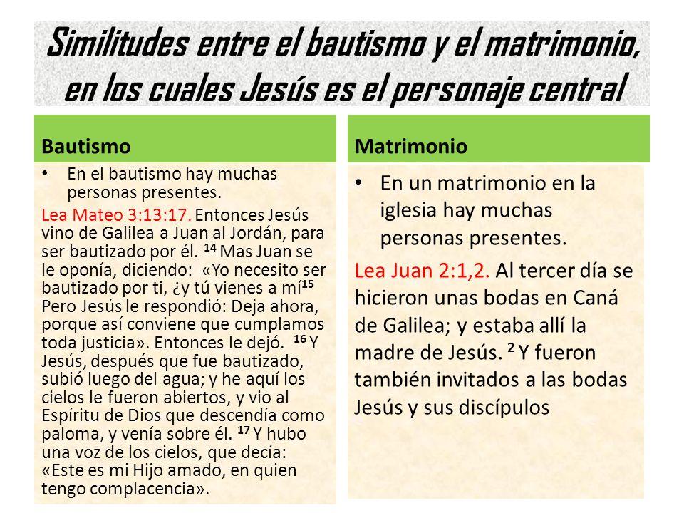 Similitudes entre el bautismo y el matrimonio, en los cuales Jesús es el personaje central